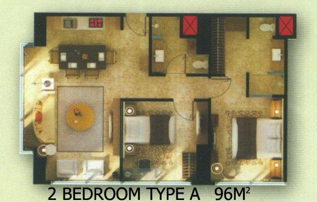 Apartemen 2 kamar tidur u residence dipasarkan for Design apartemen 2 kamar tidur