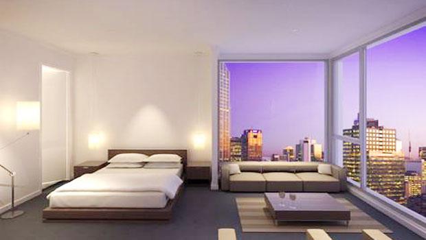 kamar tidur untuk ruang kecil apartemen