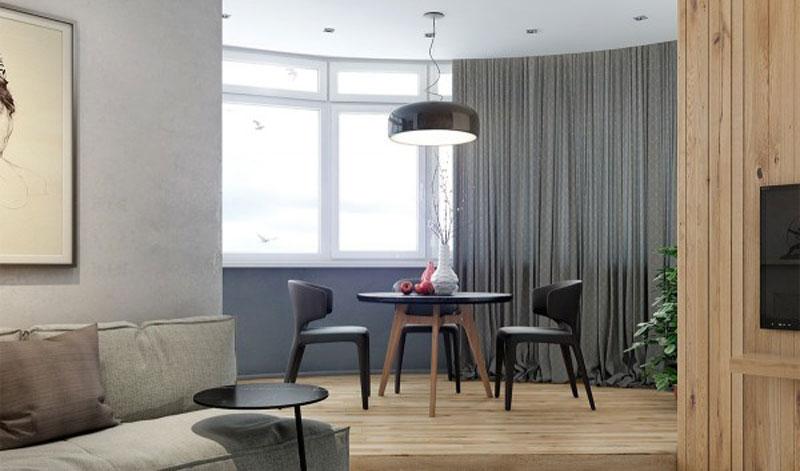 Ruang tamau dan Ruang Keluarga dengan Panel kayu