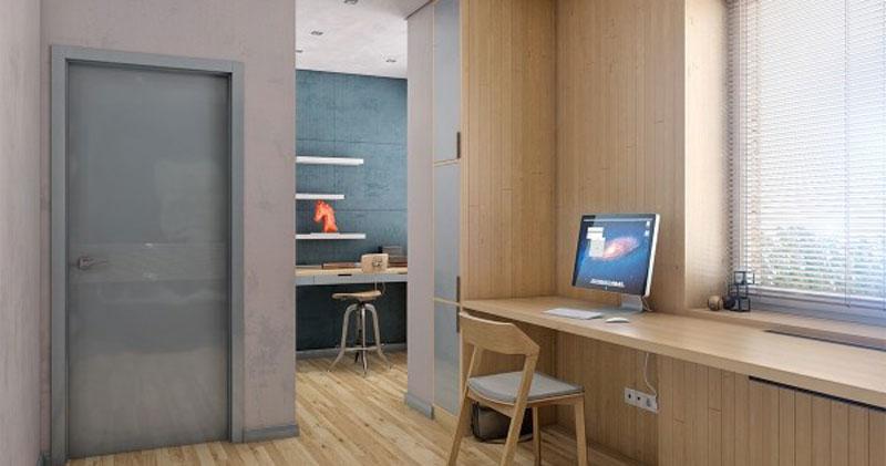 Ruang Kerja dengan Diding dan Meja Panel Kayu