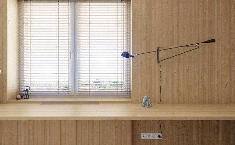 interior rumah dengan bahan panel kayu